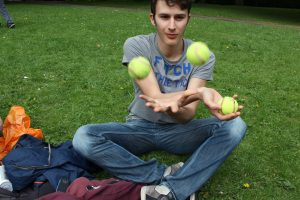 A Leeds English School Student Showing His Skills At Juggling